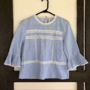 Zara TRF Striped Peasant Blouse Lace Detail Top